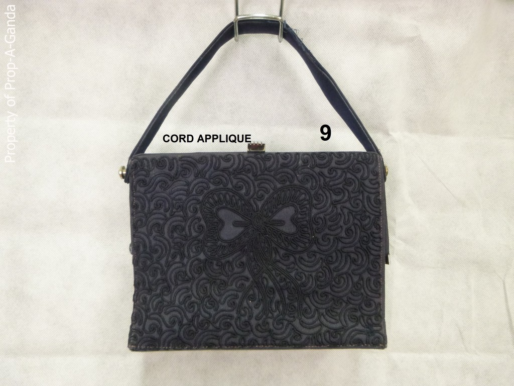 Suede and cord applique handbags prop a ganda prop a ganda
